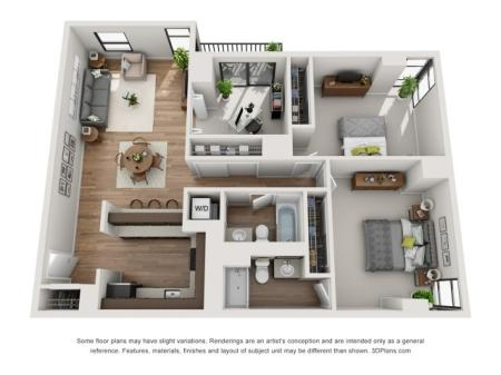 2 Bed 2 Bath Floor Plan B4D