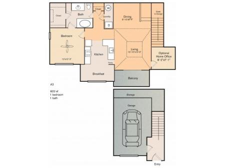 1 bedroom 1 bath apartment with dining area, breakfast nook, optional office, private patio, storage, garage and 822 square feet