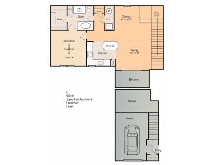 1 bedroom 1 bath apartments with dining area, private patio, storage area, garage and 759 square feet