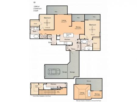 2 bedroom 2 bath apartment with dining area, 3 private patios, extra storage space, attached garage and 1299 square feet