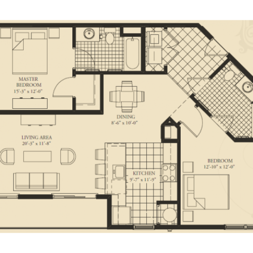 B5- TWO BEDROOM TWO BATH 1202 SQ FT