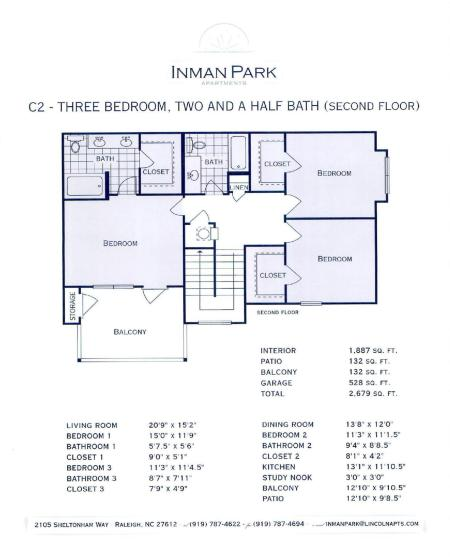 C2- THREE BEDROOM TOWN HOUSE, TWO AND A HALF BATH, TWO CAR GARAGE