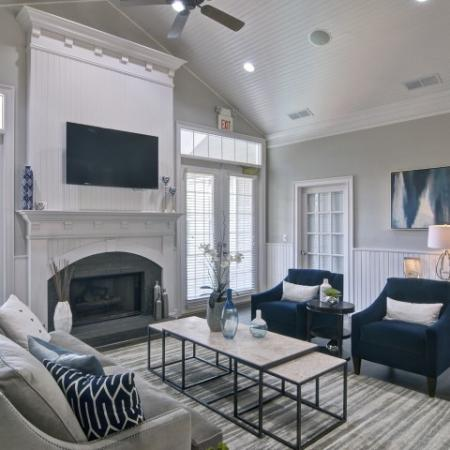 Beautiful clubhouse interior with designer finishes and soft seating
