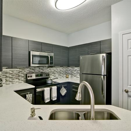 Gorgeous kitchen with designer tile backsplash, modern cabinets with stainless pulls, stainless steel appliances, double bowl sink with pull down faucet and quartz countertops