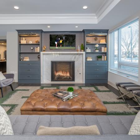 Resident lounge with fireplace and entertainment center