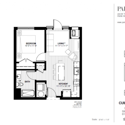 One Bedroom - Cumberland Floor Plan