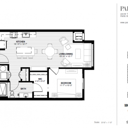 One Bedroom - Morgan B Floor Plan