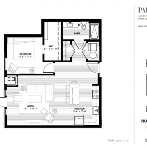 One Bedroom - Northwest Floor Plan