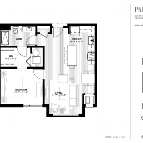 One Bedroom - South B Floor Plan