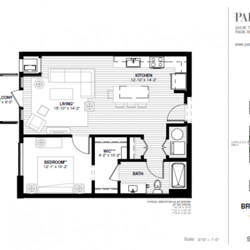 One Bedroom - Brickton A Floor Plan
