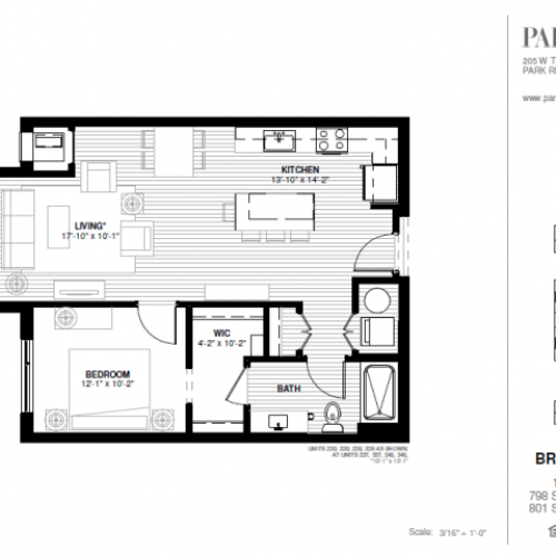 One Bedroom - Brickton B Floor Plan