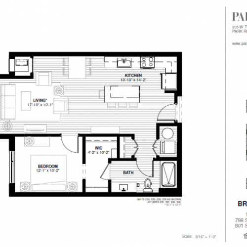 One Bedroom - Brickton B Floor Plan