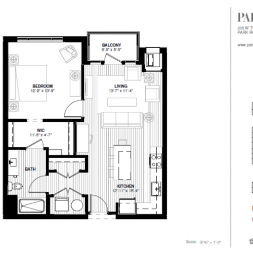 One Bedroom - North Floor Plan