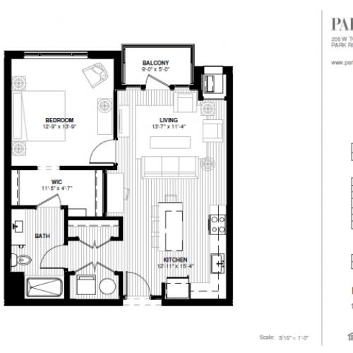 One Bedroom - North Floor Plan