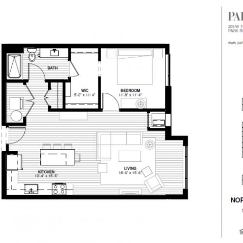 One Bedroom - Northeast B Floor Plan