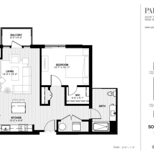 One Bedroom - Southwest Floor Plan