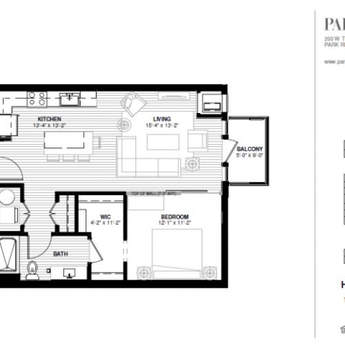 One Bedroom - Hodges Floor Plan