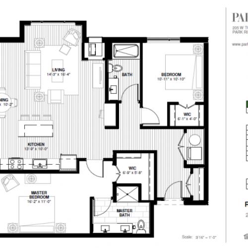 Two Bedroom - Rotary Floor Plan