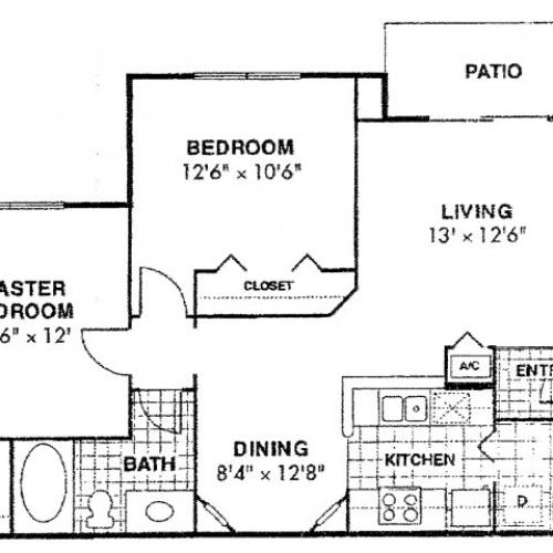 Doral Rehab two bedroom one bathroom floor plan