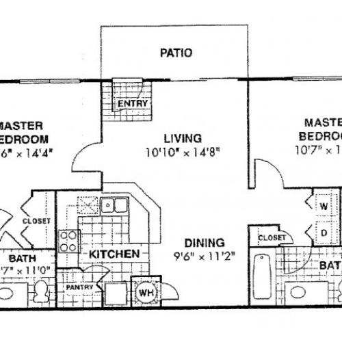 Espana Rehab two bedroom two bathroom floor plan