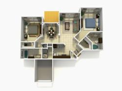 Tarragona Rehab two bedroom two bathroom 3D floor plan