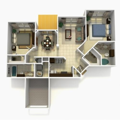 Tarragona Rehab two bedroom two bathroom 3D floor plan