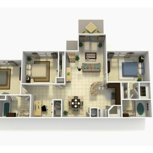 Almeria three bedroom two bathroom with den 3D floor plan