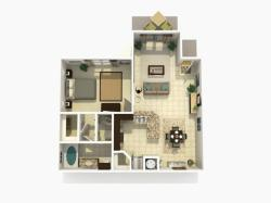 Cypress Rehab one bedroom one bathroom 3D floor plan
