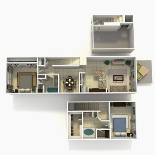 Lisbon two bedroom two bathroom town home with single car garage 3D floor plan