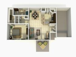 Madrid Rehab one bedroom one bathroom with garage 3D floor plan