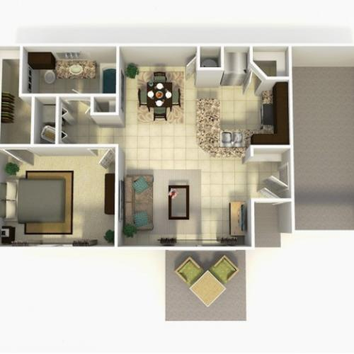 Madrid Rehab one bedroom one bathroom with garage 3D floor plan