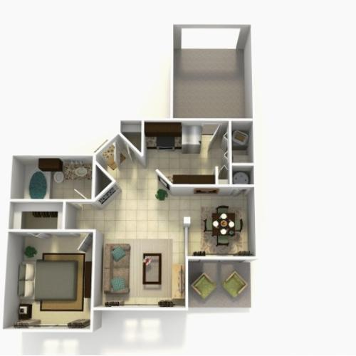 Grenada Rehab one bedroom one bathroom 3D floor plan