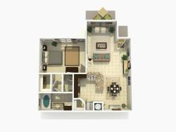 Cypress Upgraded one bedroom one bathroom 3D floor plan