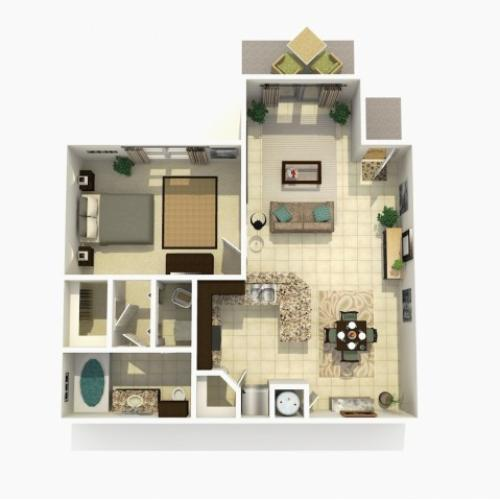 Cypress Upgraded one bedroom one bathroom 3D floor plan