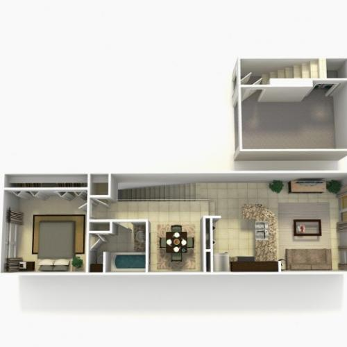 Sevilla Upgraded one bedroom one bathroom town home with single care garage 3D floor plan