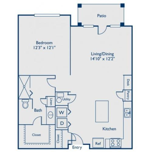 A2 one bed, one bath with open concept kitchen, island, large closet and patio