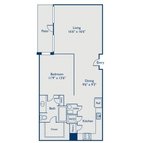 A3 soft one bedroom, one bath with dining room, large closet and patio