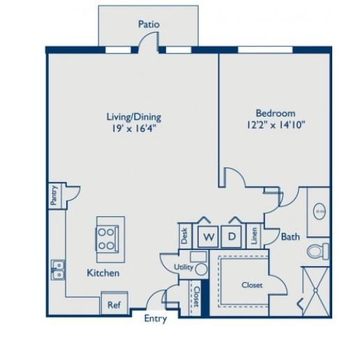 A4 one bed, one bath with open concept kitchen, island, large closet and patio