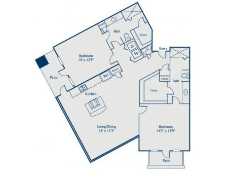 B2 two bed, two bath with large closets and two patios