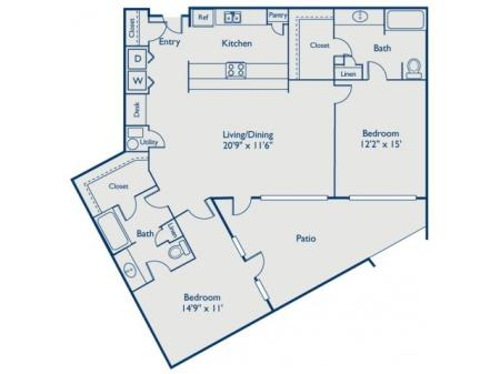 B3 two bed, two bath with large closets, eat in kitchen and large patio
