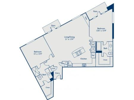 B4 two bed, two bath with large closets, open concept kitchen with island and two patios