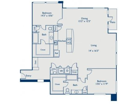 B5 two bed, two bath with dining room, open concept kitchen with island, large closets and patio