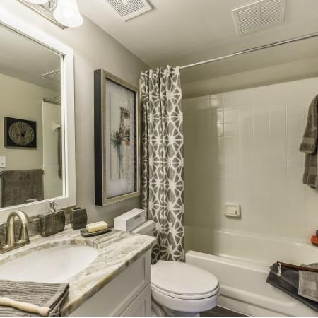 Bathroom with tub/shower combo, single sink with granite countertop and large framed mirror