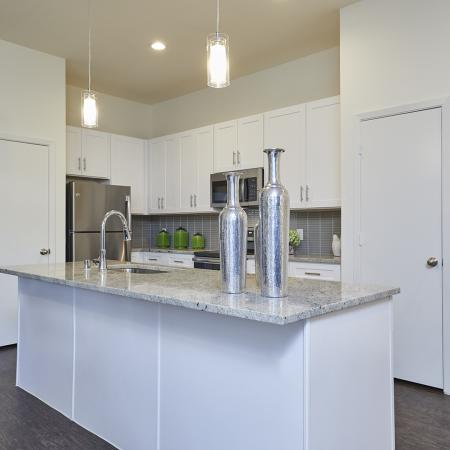 MODERN WHITE CABINETRY WITH BRUSHED NICKEL HARDWARE,CHEF -INSPIRED KITCHENS WITH GRANITE COUNTERS, HARDWOOD-INSPIRED FLOORING.