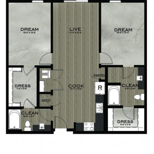 2 Bedroom 2 Bathroom floor plan