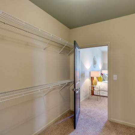 Large walk in closet looking into the bedroom