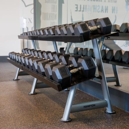 A row of weights in the gym