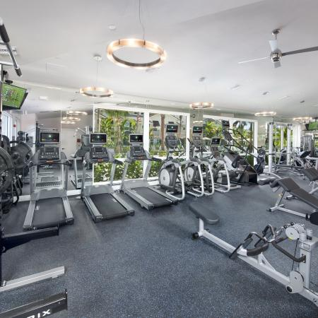 Fitness center with mirror wall, treadmills, elliptical machines, stair machine and strength training machines