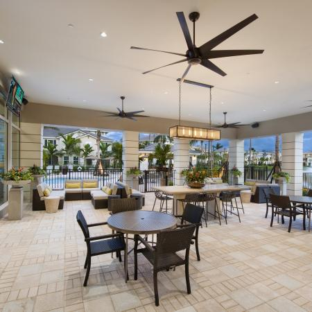 Top covered open-air lounge with ceiling fans, TV, view to pool area, and comfortable seating