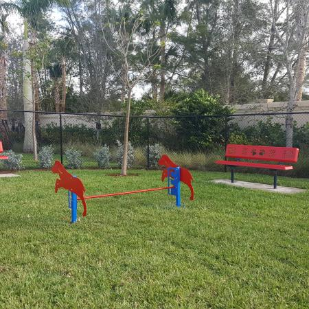 Grassy outdoor dog park with benches and agility obstacle